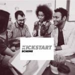 Image of young people talking together with the logo for the government kickstart scheme